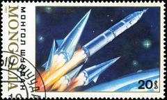 Mongolia - circa 1989: stamp printed by mongolia, shows spaceship soyuz , cir Stock Photos