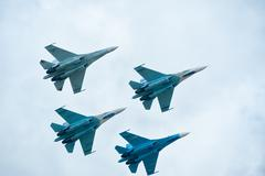 Military air fighters Su-27 Stock Photos