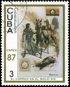 Cuba - circa 1987: a stamp printed in the cuba, shows traditional old vehicle Stock Photos