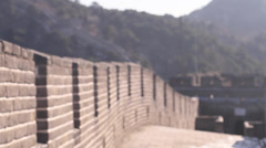 Angle of the great wall walk way without people Stock Footage