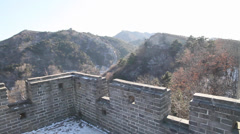 Pan left to right from great wall of china from the watch tower Stock Footage