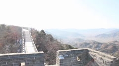 180 degree pan on a great wall of china watch tower on a nice sunny day Stock Footage