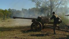 Germans move cannon to Russian tank Stock Footage