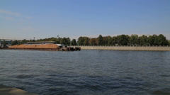 Cargo barge on the river Stock Footage
