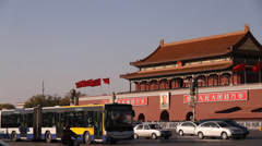 Forbidden city from Tiananmen square that transitiosn to pan Stock Footage