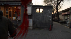 A first person view on a bicylce ride in the Beijing hutong Stock Footage