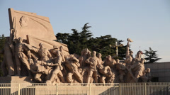 Monument in front of Mao's Mausoleum on Tiananmen Square daytime Stock Footage
