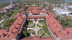 Flagler College St augustine Florida Aerial video footage Stock Footage