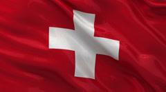 Flag of Switzerland - seamless loop Stock Footage