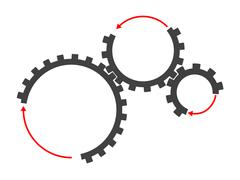 Set of cogs of different sizes Stock Illustration