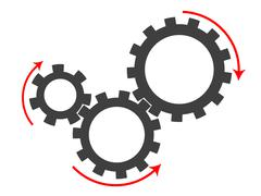 Set of cogs of different sizes - stock illustration