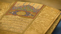 Islamic art, binding Quran Stock Footage