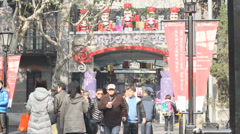 Daytime christmas in hip xintiandi,  south of Huaihai Zhong Lu Stock Footage