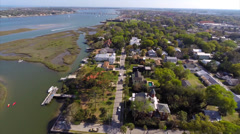 Aerial video of St. Augustine residential neighborhoods Stock Footage
