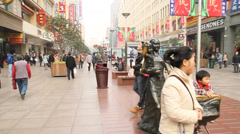 East Nanjing road daytime during christmas Stock Footage