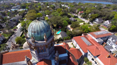 Flagler Memorial St Augustine Florida aerial video - stock footage