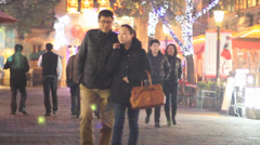Night Scene in hip xintiandi 2 with christmas lights, south of Huaihai Zhong Lu Stock Footage