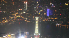 Evening shot with a bright jin mao tower and colorful pearl tower - stock footage