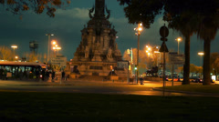 Stock Video Footage of traffic at Columbus colon, Barcelona, Spain