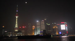 Bund night scene - 360 degrees featuring pearl tower Stock Footage