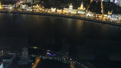 View of the bund at night from the pearl tower Stock Footage