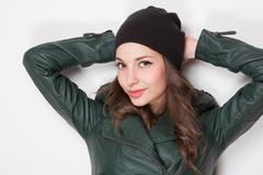 cool young brunette. - stock photo