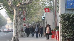 Busy street in jingan Shanghai people walking Stock Footage