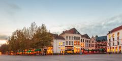Panoramic image of the central square in the dutch city deventer Stock Photos