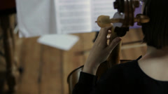 Classical cello player during rehearsal Stock Footage