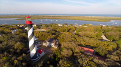 St. Augustine lighthouse aerial video Stock Footage