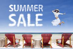 Beach chairs and girl jumping for summer sale Stock Illustration