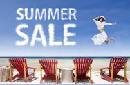 Stock Illustration of beach chairs and girl jumping for summer sale