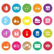 wellness flat icons on white background - stock illustration