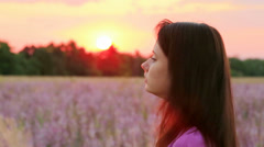 Portrait Of Young Girl In Lavender Field - stock footage
