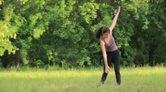 Exercising In The Park Stock Footage