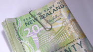 Stock Video Footage of NZ money dollar notes bills. 1080/25P