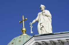 Sculpture of apostle peter at the cathedral in helsinki, finland Stock Photos