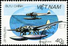 vietnav - circa 1987: a stam printed in vietnam shows amphibian cant z.509, c - stock photo