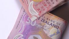 NZ money dollar notes bills. 1080/25P Stock Footage
