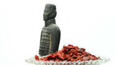 Gojii berries with antique chinese clay soldier Stock Footage