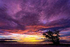 Spectacular stormy sunset in the philippines Stock Photos