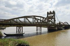 Drawbridge over the river Sado, Alcacer do Sal, Alentejo, Portug - stock photo