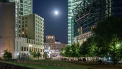 Potsdamer Platz under full moon, time lapse Stock Footage