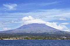 Pico volcano view from the sea, Pico island, Azores Stock Photos