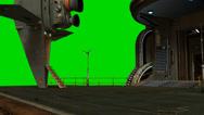 Stock Video Footage of futuristic city spaceship landing platform - green screen video background