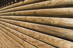 Log wall detail - stock photo