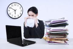 Businesswoman having influenza Stock Photos