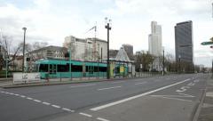 Tram station Messe Frankfurt - stock footage