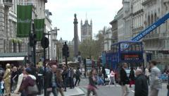 Piccadilly Circus looking South to Nelson's Column & Westminster Stock Footage