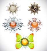 set with brooches. - stock illustration